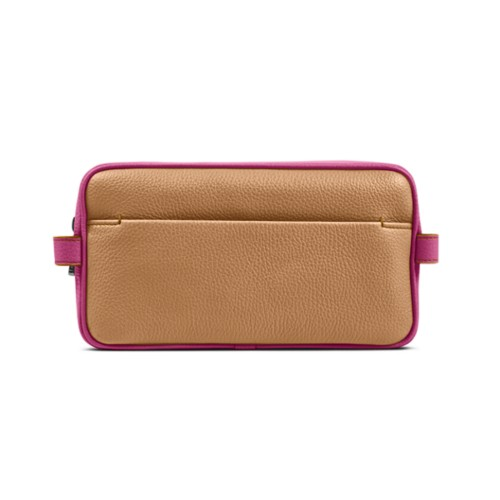Designer Toiletry Bag (9.8 x 5.7 x 4.5 inches) - Natural-Fuchsia - Granulated Leather