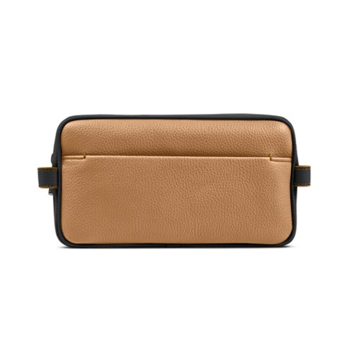 Designer Toiletry Bag (9.8 x 5.7 x 4.5 inches) - Natural-Black - Granulated Leather