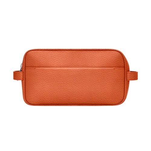 Kulturtasche (25 X 14.5 X 11.5 Cm) - Orange - Genarbtes Leder