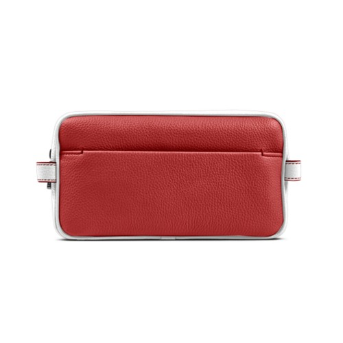 Designer Toiletry Bag (9.8 x 5.7 x 4.5 inches) - Red-White - Granulated Leather