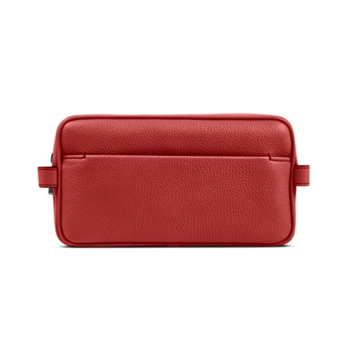 Designer Toiletry Bag (9.8 x 5.7 x 4.5 inches) - Red - Granulated Leather