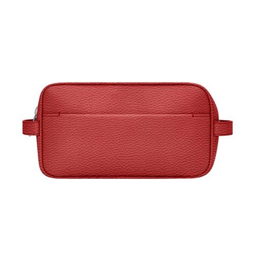 アメニティバッグ (25 x 14.5 x 11.5 cm) - Red - Granulated Leather