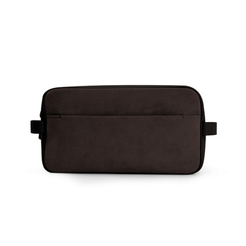 Designer Toiletry Bag (25 x 14.5 x 11.5 cm) - Dark Brown - Suede Calf