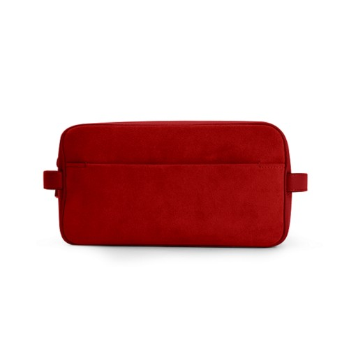 Designer Toiletry Bag (25 x 14.5 x 11.5 cm) - Red - Suede Calf
