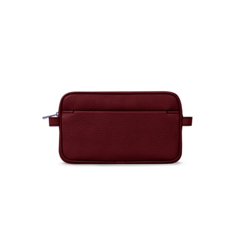 Makeup bag - Burgundy - Granulated Leather