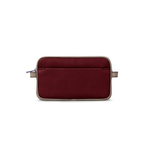 Makeup bag - Burgundy-Mink - Granulated Leather