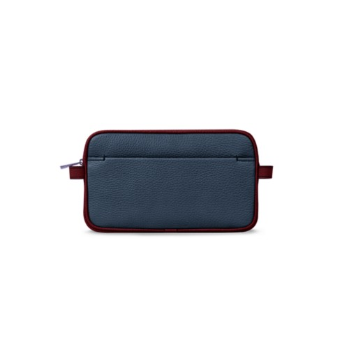 Makeup bag - Navy Blue-Burgundy - Granulated Leather