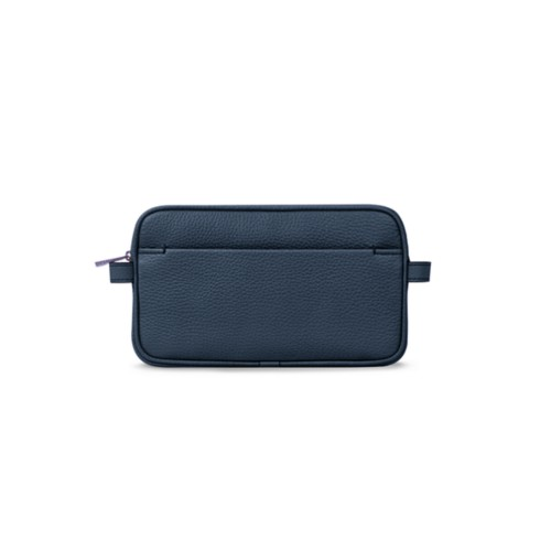 Wash bag - Navy Blue - Granulated Leather
