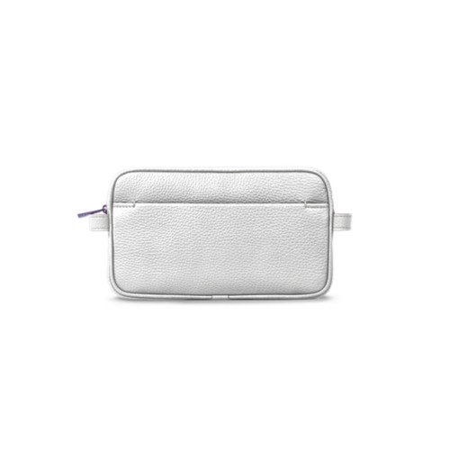 Makeup bag - White - Granulated Leather