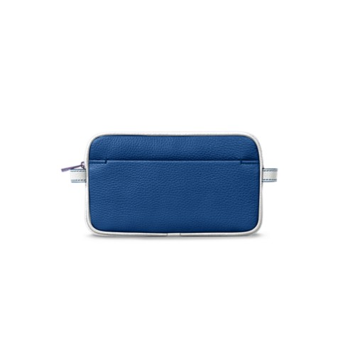 Makeup bag - Royal Blue-White - Granulated Leather