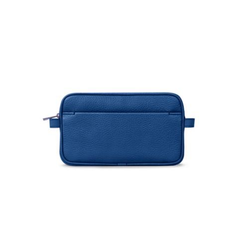 Makeup bag - Royal Blue - Granulated Leather
