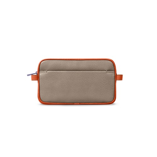 Trousse de maquillage - Vison-Orange - Cuir Grainé