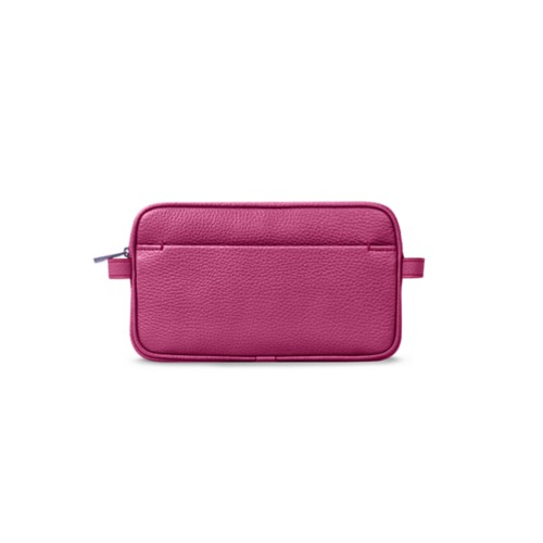 Makeup bag - Fuchsia  - Granulated Leather