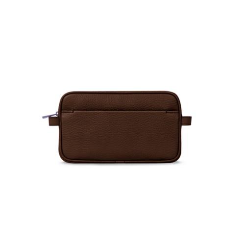 Makeup bag - Dark Brown - Granulated Leather