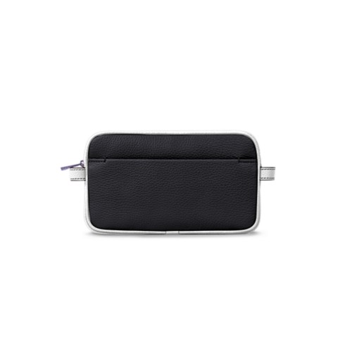 Wash bag - Black-White - Granulated Leather