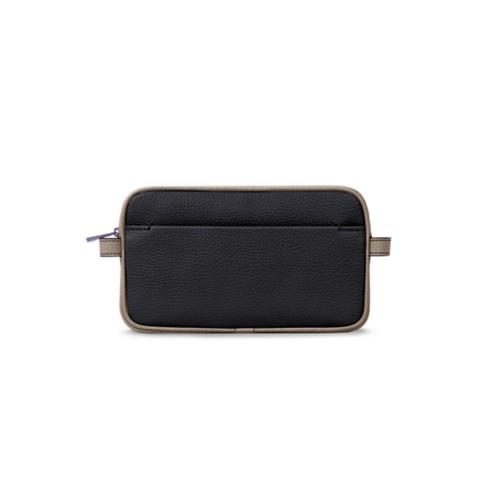Wash bag - Black-Mink - Granulated Leather