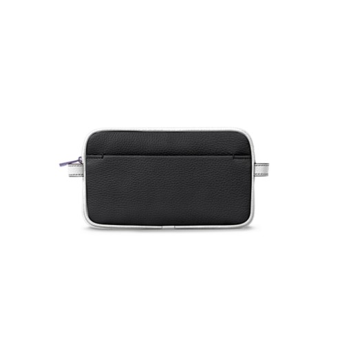 Makeup bag - Black-White - Granulated Leather