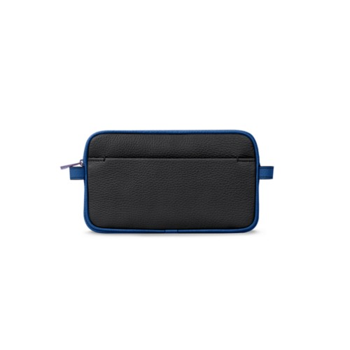 Makeup bag - Black-Royal Blue - Granulated Leather