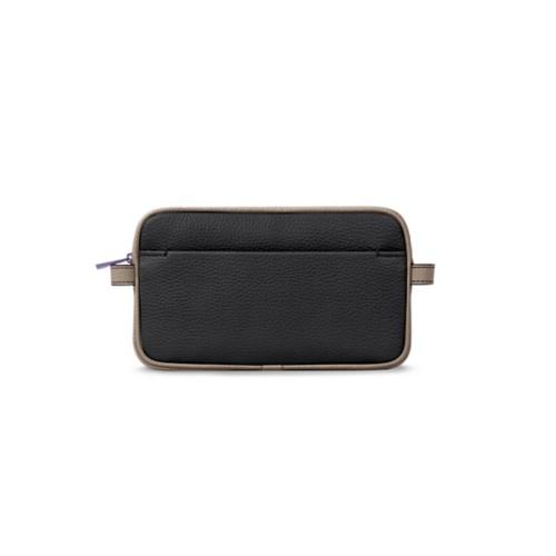 Makeup bag - Black-Mink - Granulated Leather