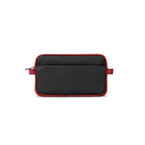 Makeup bag - Black-Red - Granulated Leather