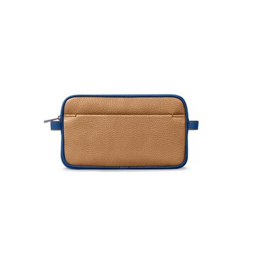 Makeup bag - Natural-Royal Blue - Granulated Leather