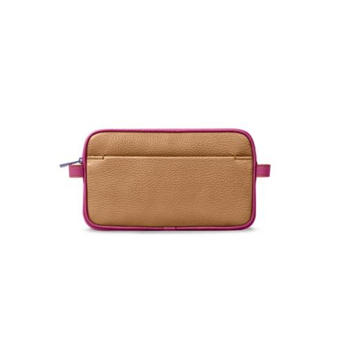 Makeup bag - Natural-Fuchsia - Granulated Leather