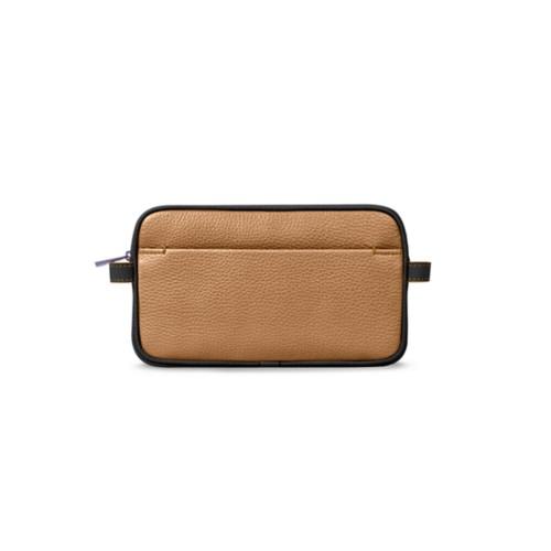 Makeup bag - Natural-Black - Granulated Leather