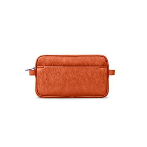 Kosmetiktasche - Orange - Genarbtes Leder