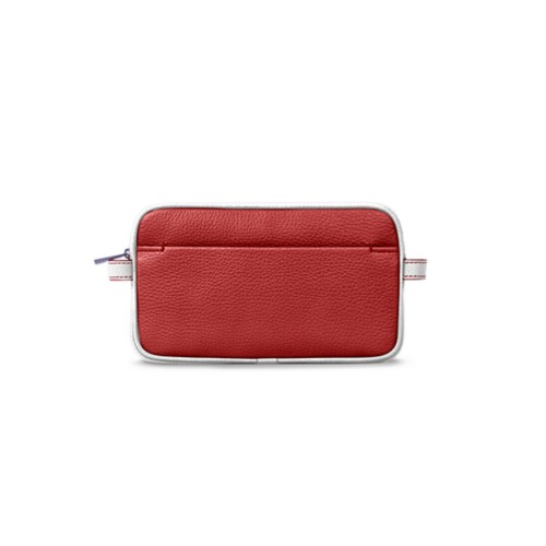 Makeup bag - Red-White - Granulated Leather