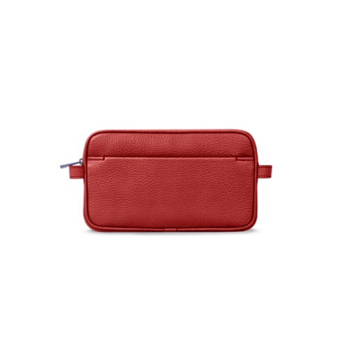 化粧ポーチ - Red - Granulated Leather