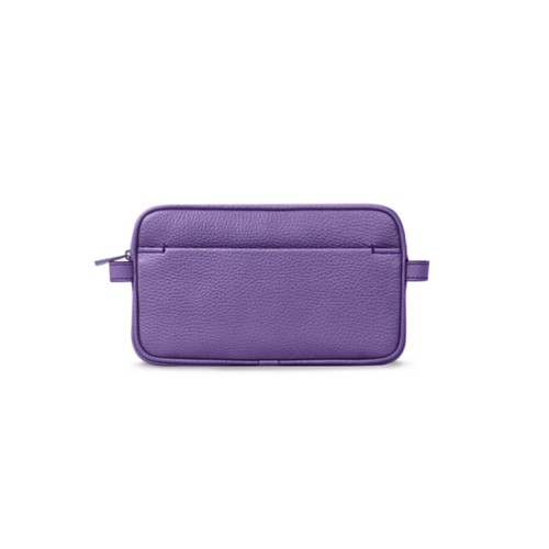 Makeup bag - Lavender - Granulated Leather