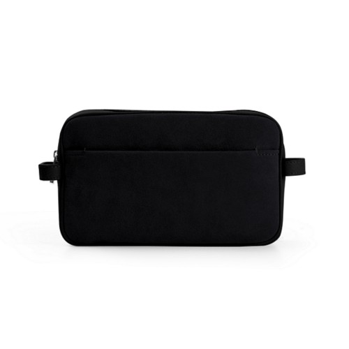 Makeup bag - Black - Suede Calf