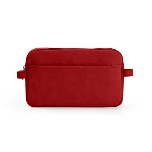 Makeup bag - Red - Suede Calf