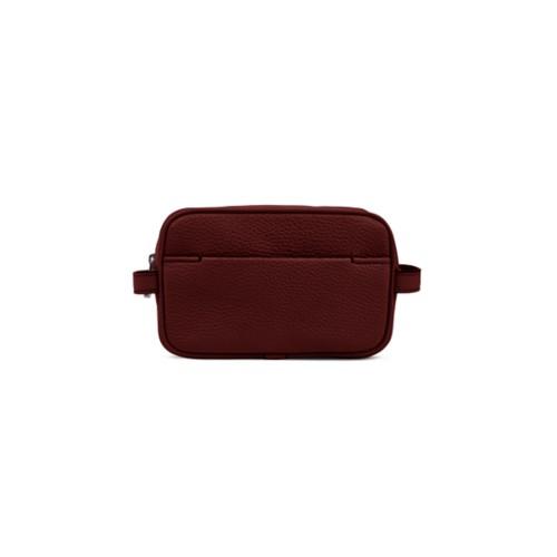 Small Dopp Kit - Burgundy - Granulated Leather