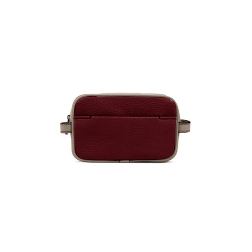 Small Dopp Kit (6.9 x 4.3 x 2.2 inches) - Burgundy-Mink - Granulated Leather