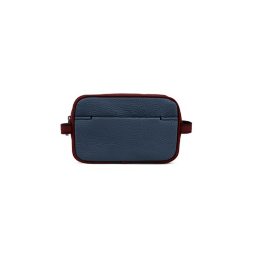 Small Dopp Kit - Navy Blue-White - Granulated Leather