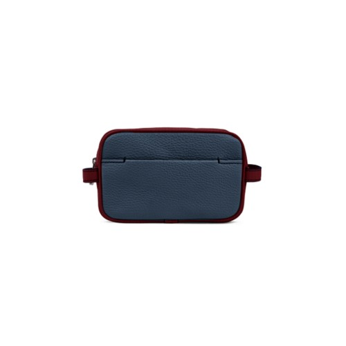 Small Dopp Kit (6.9 x 4.3 x 2.2 inches) - Navy Blue-Burgundy - Granulated Leather