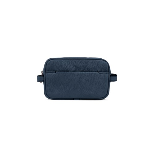 Small Dopp Kit - Navy Blue - Granulated Leather