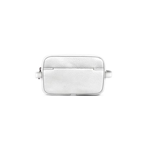 Petite Trousse de Toilette (17,5 x 11 x 5,5 cm) - Blanc - Cuir Grainé