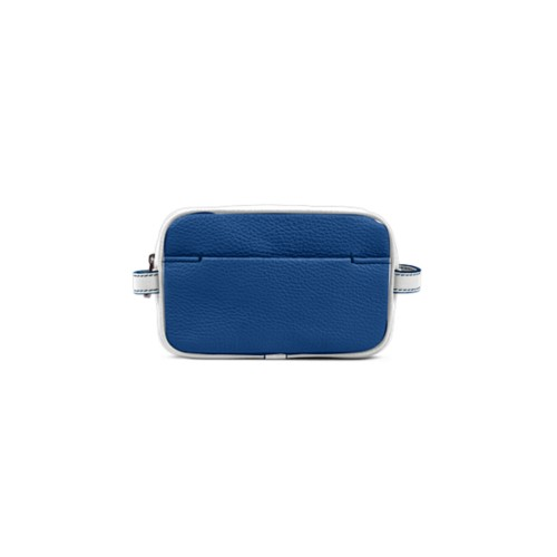 Small Dopp Kit (6.9 x 4.3 x 2.2 inches) - Royal Blue-White - Granulated Leather