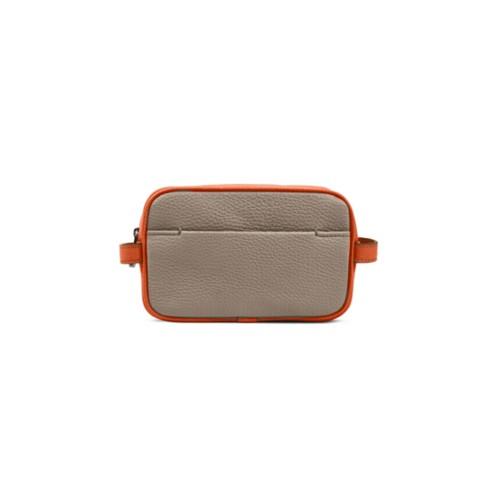 Small Dopp Kit (6.9 x 4.3 x 2.2 inches) - Mink-Orange - Granulated Leather