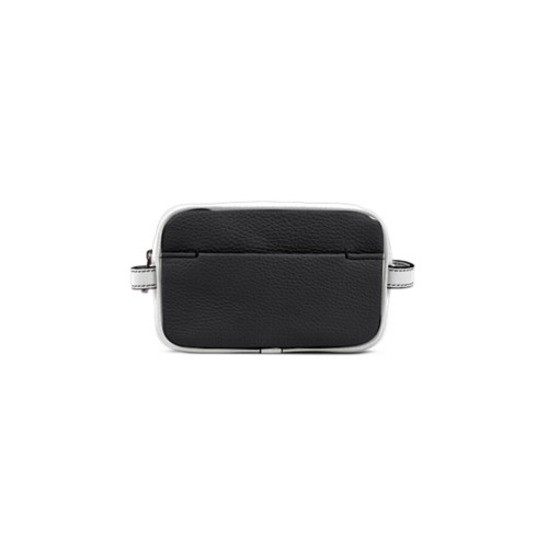 Small Dopp Kit (6.9 x 4.3 x 2.2 inches) - Black-White - Granulated Leather