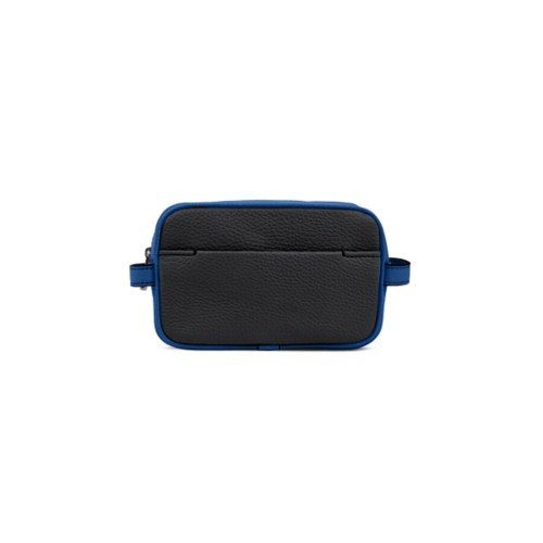 Small Dopp Kit (6.9 x 4.3 x 2.2 inches) - Black-Royal Blue - Granulated Leather