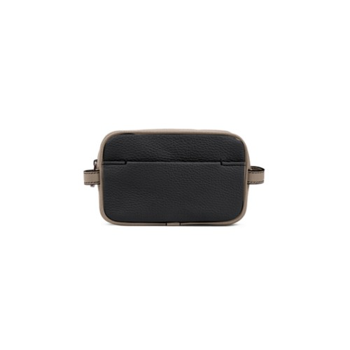 Small Dopp Kit (6.9 x 4.3 x 2.2 inches) - Black-Mink - Granulated Leather