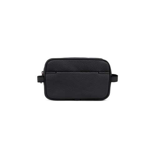 Small Dopp Kit (6.9 x 4.3 x 2.2 inches) - Black - Granulated Leather