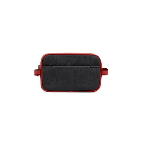 Small Dopp Kit (6.9 x 4.3 x 2.2 inches) - Black-Red - Granulated Leather
