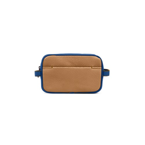 Small Dopp Kit (6.9 x 4.3 x 2.2 inches) - Natural-Royal Blue - Granulated Leather