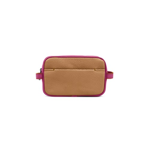 Small Dopp Kit (6.9 x 4.3 x 2.2 inches) - Natural-Fuchsia - Granulated Leather