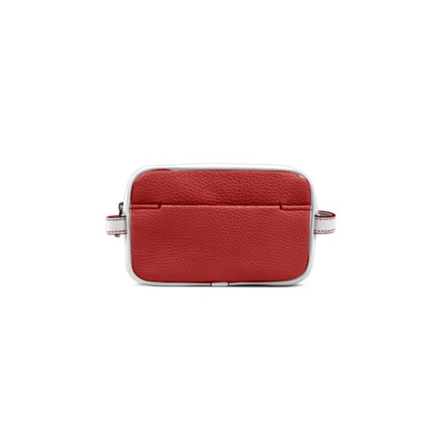 Small Dopp Kit (6.9 x 4.3 x 2.2 inches) - Red-White - Granulated Leather