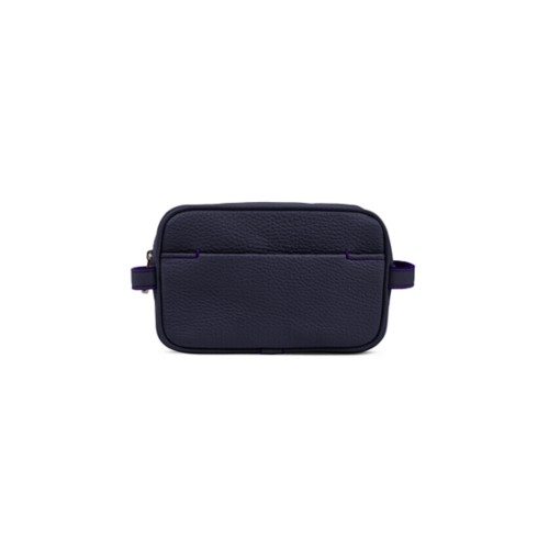 Petite Trousse de Toilette (17,5 x 11 x 5,5 cm) - Violet - Cuir Grainé